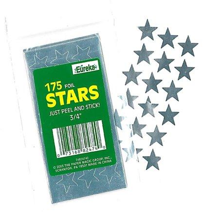 STICKERS FOIL STARS 3/4 INCH SILVER
