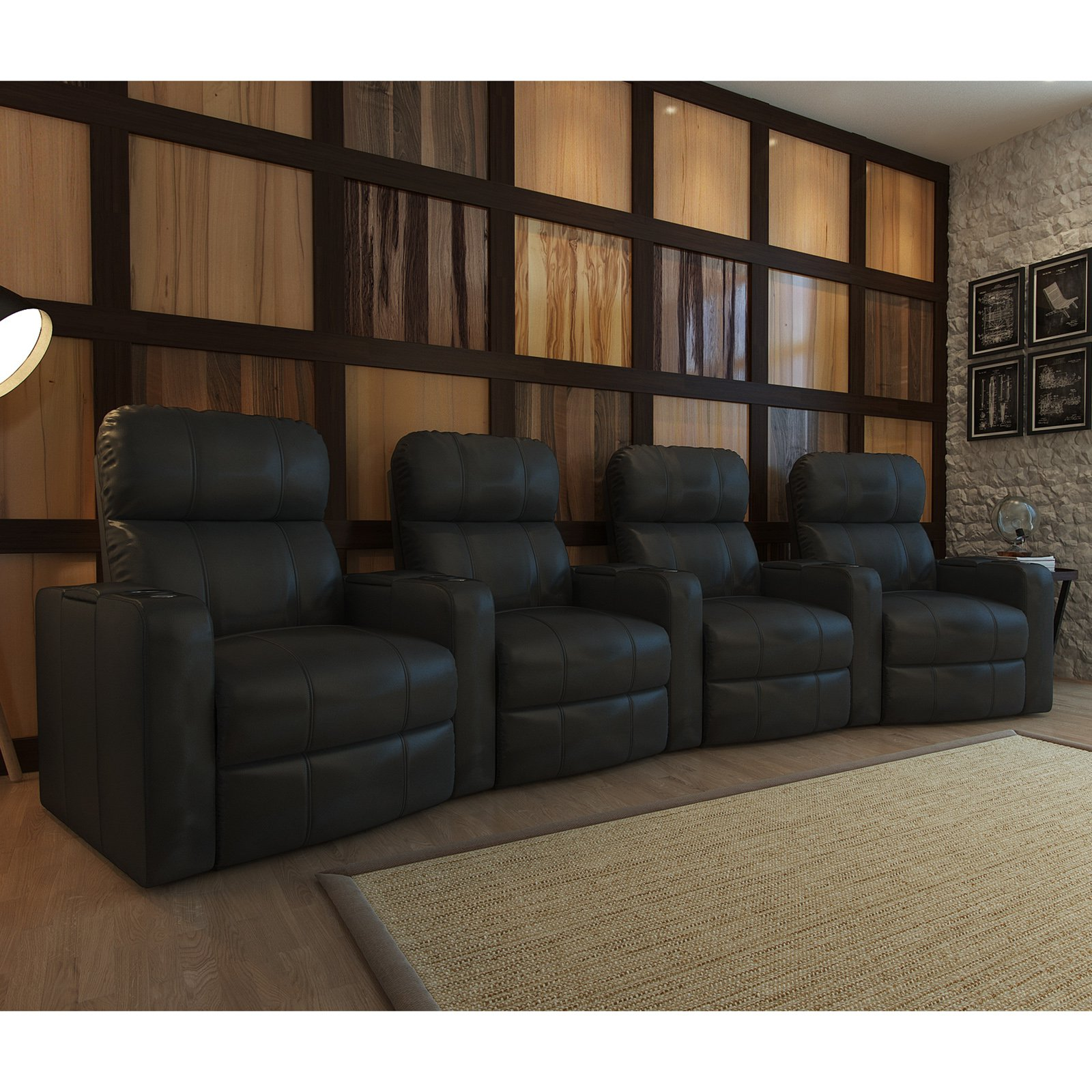 Octane Turbo XL700 4 Seater Curved Bonded Leather Home Theater Seating