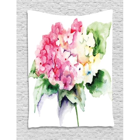 Floral Tapestry, Hydrangea Flower Bouquet in Watercolor Blossoms ...