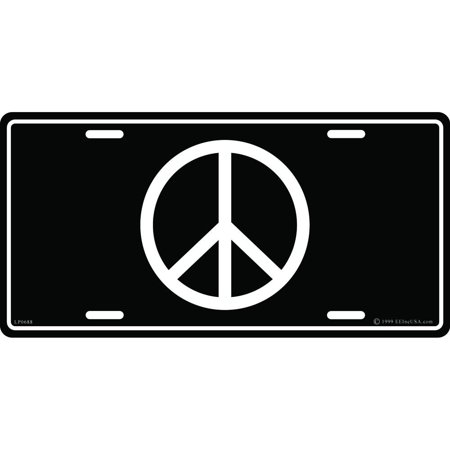 Black Grey Peace Sign (Peace Sign License Plate)