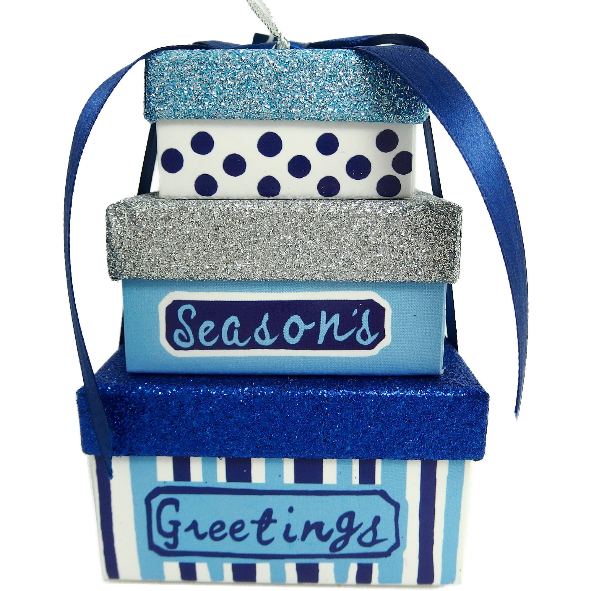 Holiday Time Christmas Ornaments 4-Piece Blue Giftbox Ornament