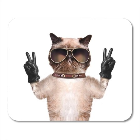 SIDONKU Funny Cat Peace Fingers in Black Winner Sign Number Hand Mousepad Mouse Pad Mouse Mat 9x10 (Black Peace Fingers)
