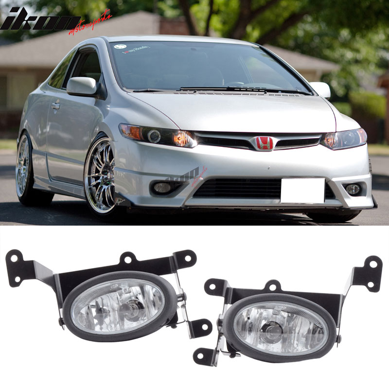 Fits 06-08 Honda Civic 2Dr Coupe Clear Lens Fog Lights WithSwitch OE Style Pair