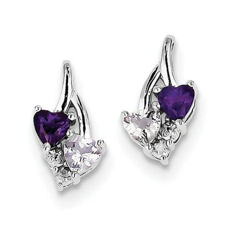 Sterling Silver Amethyst & Pink Quartz & Diamond Heart Earrings. Gem Wt- 0.92ct (0.5IN x 0.3IN )