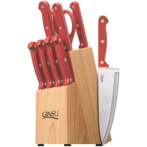 Ginsu Essential Series 10-Piece Red Cutlery Set with Natural Block