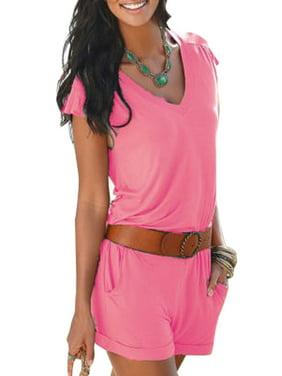 5336207c9286 Product Image Casual Women V Neck Summer Cocktail Party Plain Mini Playsuit  Jumpsuit Ladies Beach Short Sleeve Romper