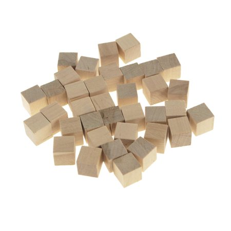 Wooden Cube Blocks, Natural, 5/8-Inch, 36-Count
