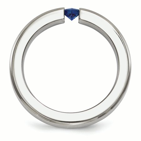 Edward Mirell Titanium Brushed Sapphire 4mm Band Size 5 - image 3 de 4