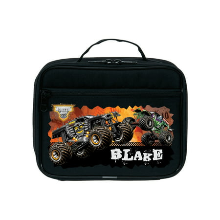 Lunch Carrier Personalized (Personalized Monster Jam Revved Up Black Kids Lunch Bag )