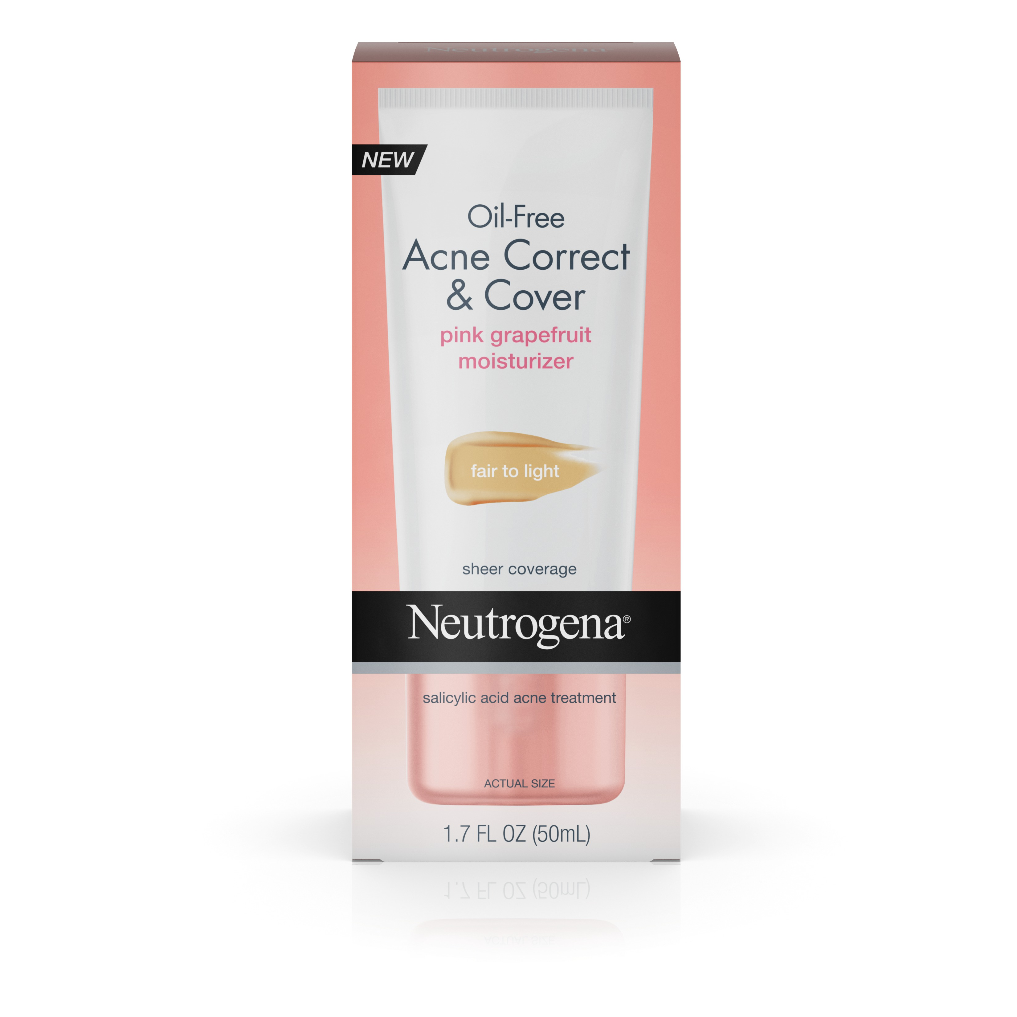 Neutrogena Oil-Free Acne Moisturizer Correct & Cover Pink Grapefruit, Medium To Tan, 1.7 Fl. Oz - Walmart.com