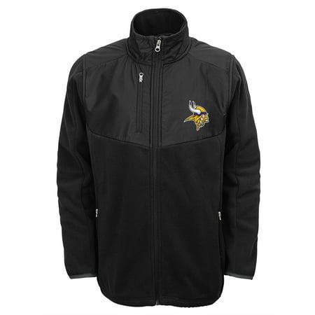 Minnesota Vikings Youth Boys Tactical Polar Fleece Full-Zip Jacket - Black - Yth S