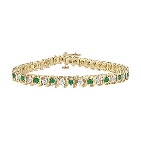 Created Emerald and Cubic Zirconia Tennis Bracelet with 5.00 CT TGW on Yellow Gold Vermeil - image 1 de 2