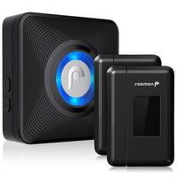 Fosmon WaveLink 51044HOMUS Wireless Door Open Chime (Operating Range - 120M/400FT | 52 Chime Tunes | 4 Volume Levels | LED Indicators) - 2 Magnetic Door Chime Sensors, 1 Plugin Receiver - Black