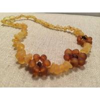 Raw UnPolished Lemon Flower Baltic Amber Necklace for Baby, Infant, Toddler, Big Kid.