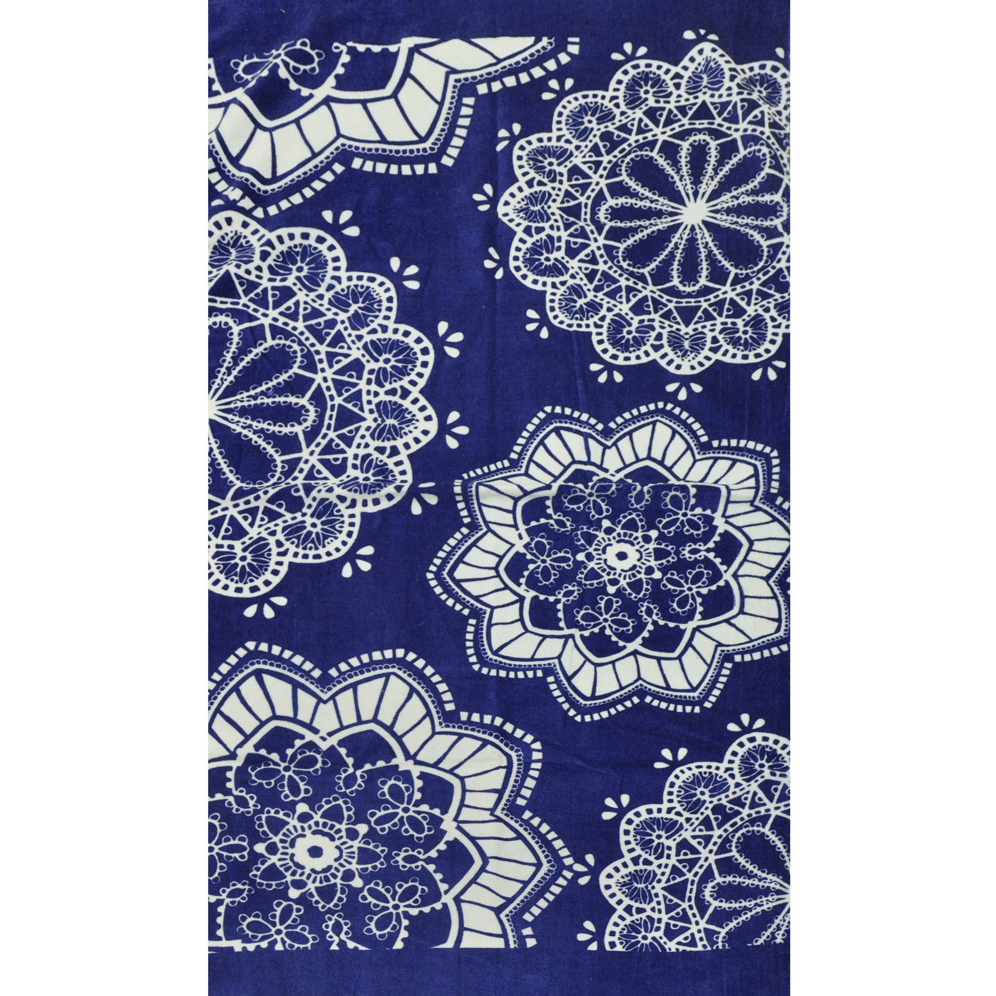Beach House Indigo Lace Cotton Beach Towel