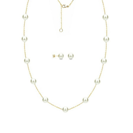 ADDURN ADDURN 7mm x 8mm White Cultured Freshwater Pearl 14kt Yellow Gold over Silver Station Necklace and Matching Earring Set, 18