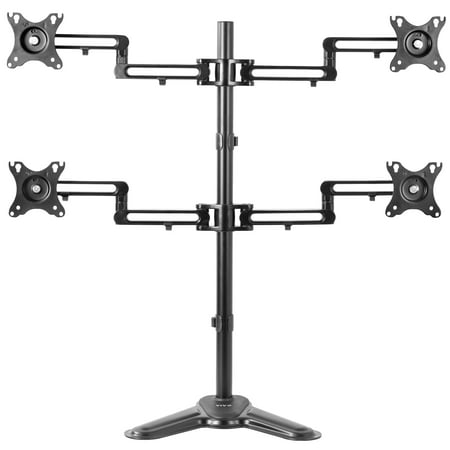 VIVO Aluminum Freestanding Quad LCD Monitor Mount Fully Adjustable Desk Stand for 4 Screens 17