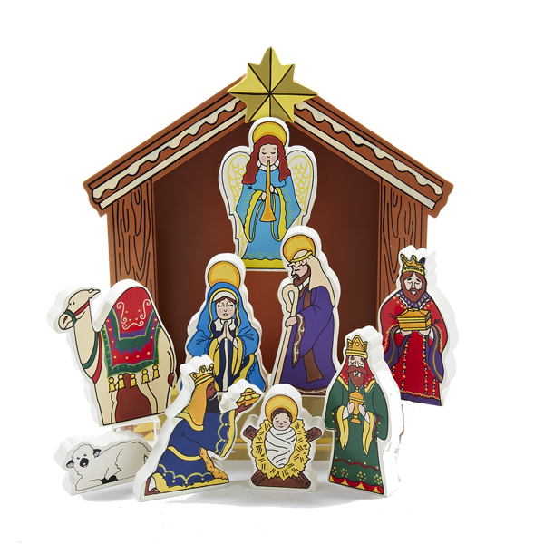 10 Piece Wooden Nativity Set with Stable Tabletop Christmas Decoration 8.5""