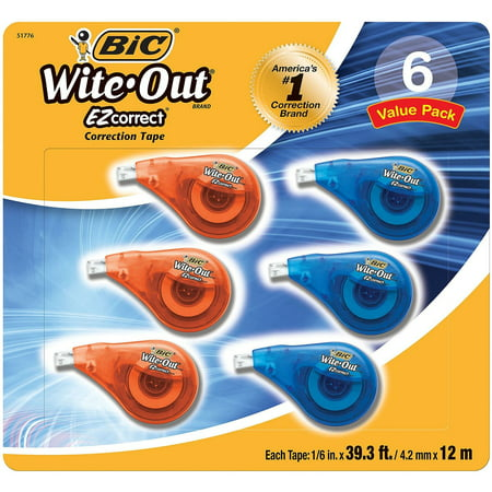 Bic Wite-Out EZ Correction Tape, 6 Ct