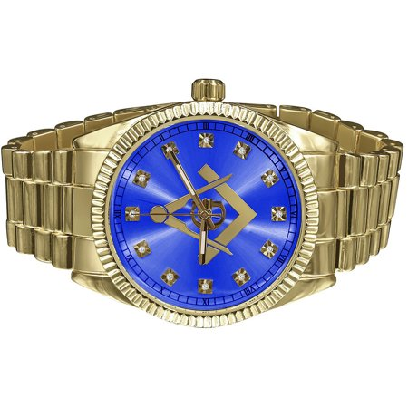 Mens Solid Stainless Steel Back Blue Dial 40mm Gold Tone Freemason G Compass Masonic Metal Band  Wrist - Solid Yellow Gold Watch