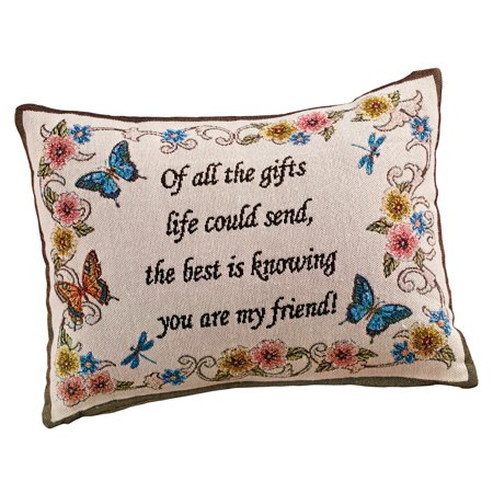 - My Friend Tapestry Weave Throw Pillow Decorative Gift - Butterflies, Flowers, Written Message