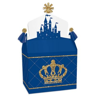 Royal Prince Charming - Treat Box Party Favors - Baby Shower or Birthday Party Goodie Gable Boxes - Set of 12 Favor Gable Boxes