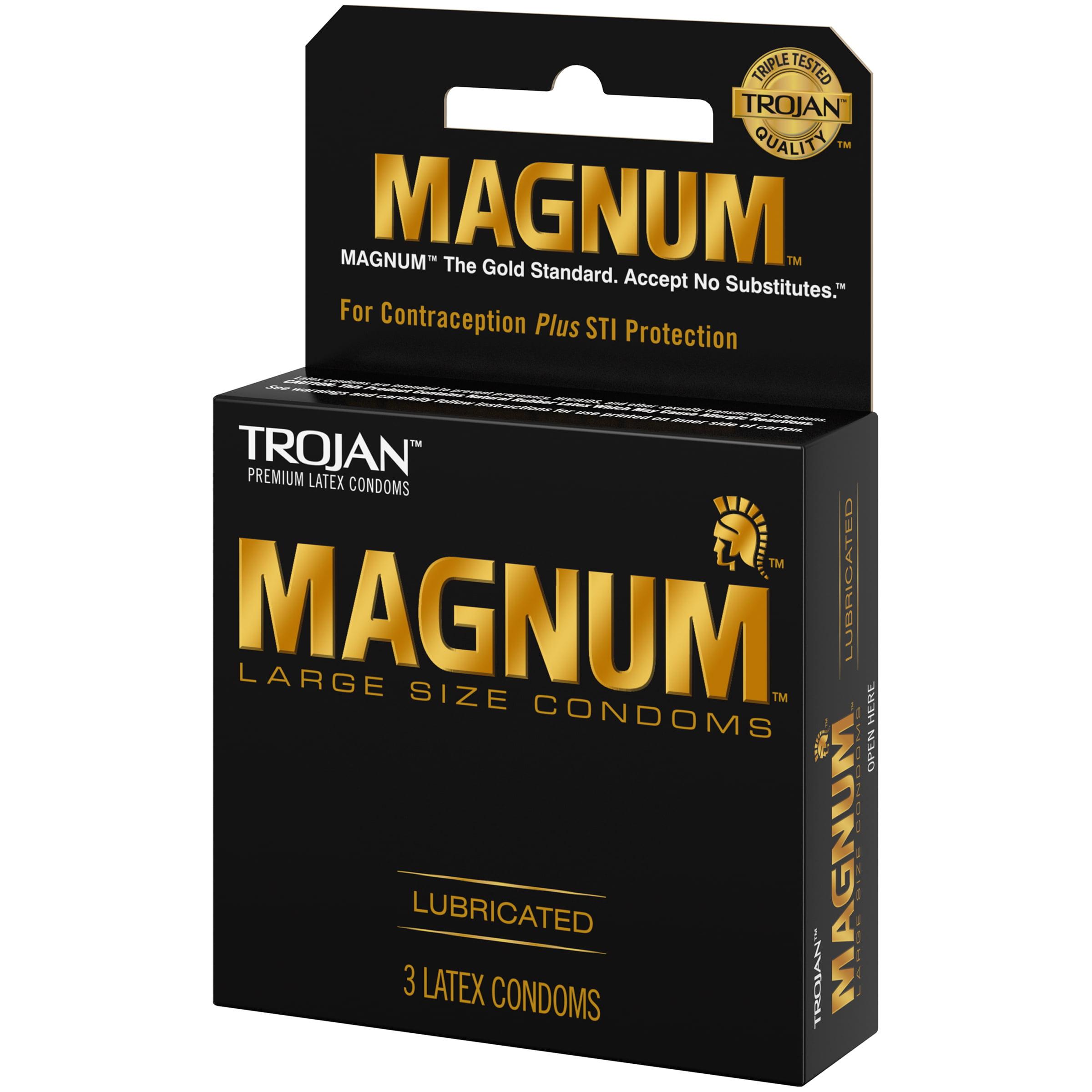 Trojan Magnum Large Size Lubricated Latex Condoms - 3 ct