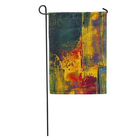 Impasto Oil (LADDKE Red Original Impasto Oil Painting on Canvas Closeup Hand Yellow Garden Flag Decorative Flag House Banner 12x18 inch)