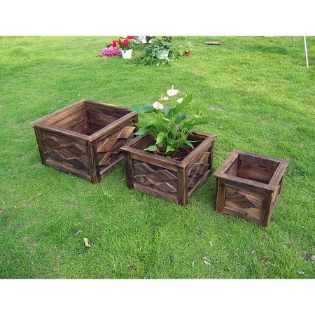 - DeVault Enterprises DEVBP230 Square Wooden Planter Set 3 Count