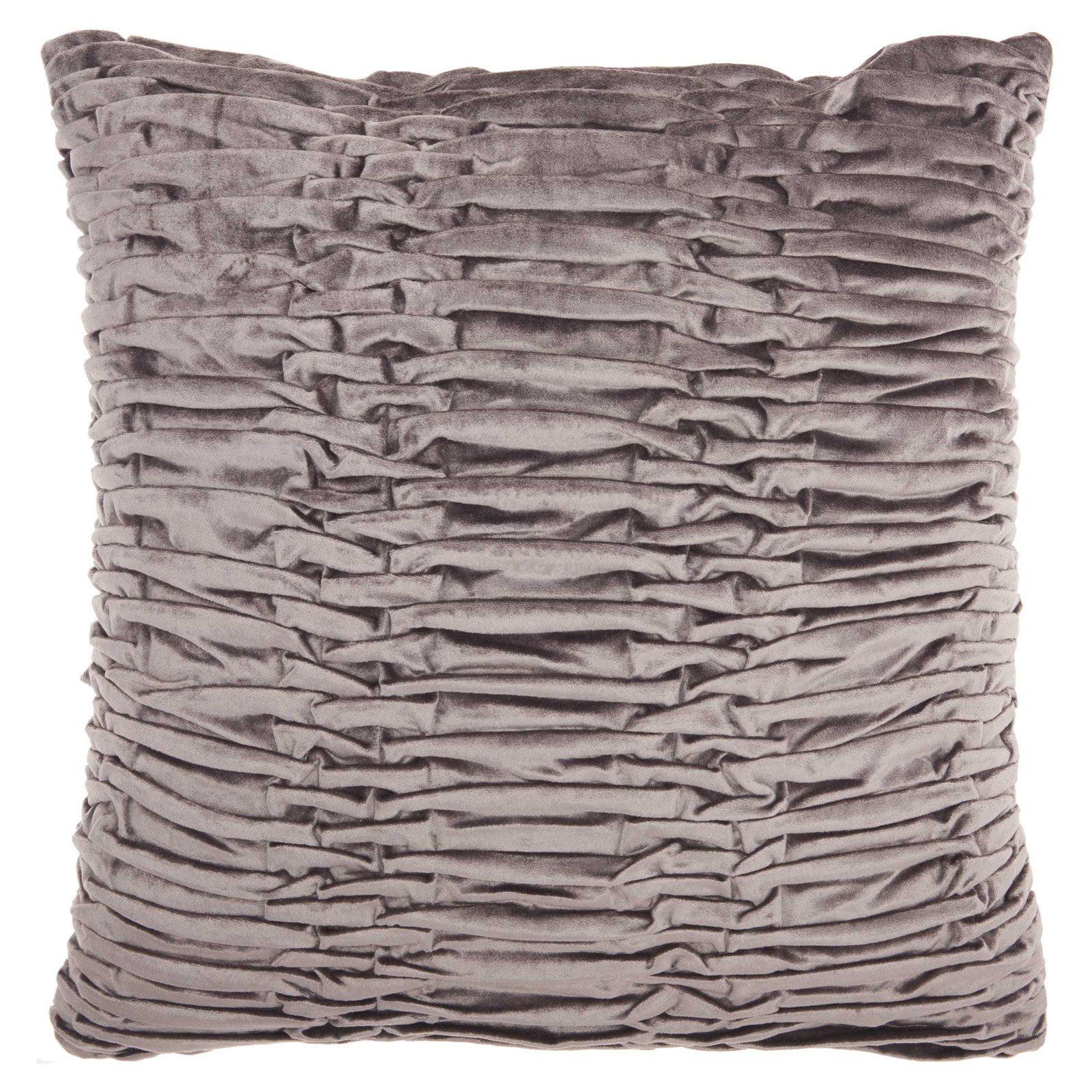 "Nourison Life Styles Ruched Velvet Decorative Throw Pillow, 18"" x 18"", Beige"