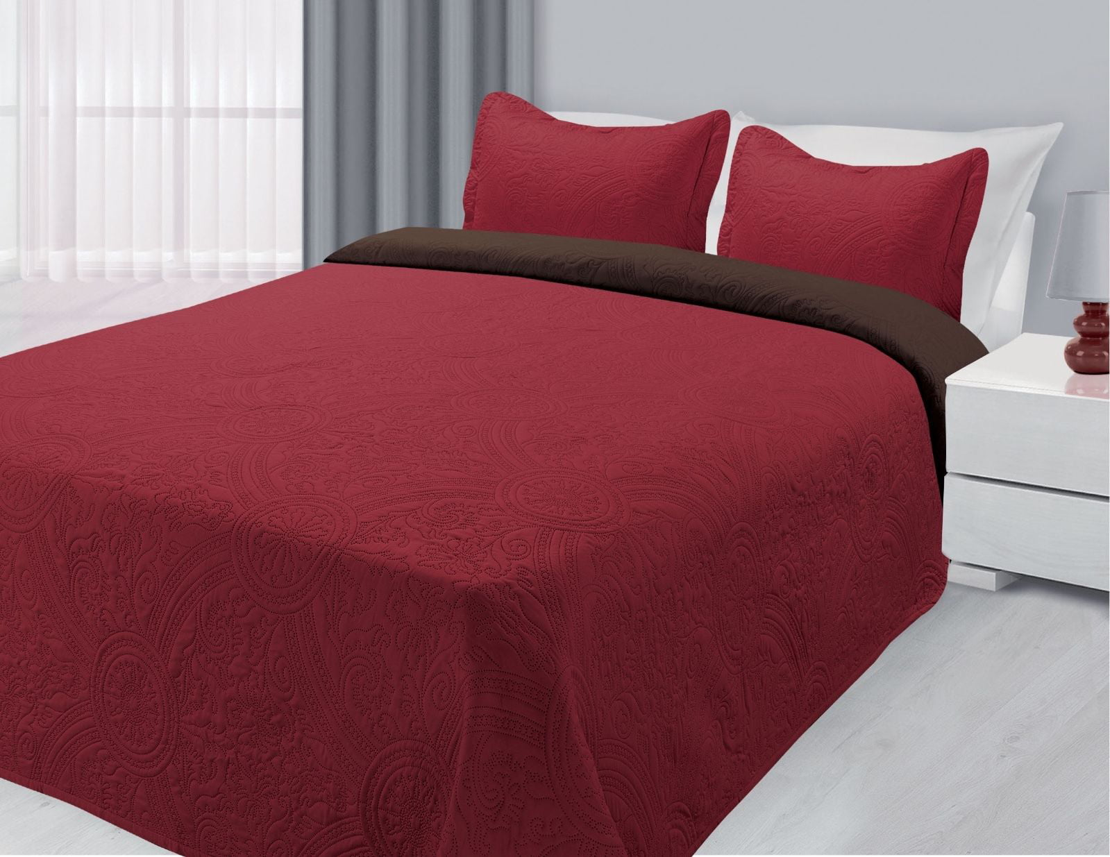 3-Piece Reversible Quilted Bedspread Coverlet Burgundy & Brown Twin Size by
