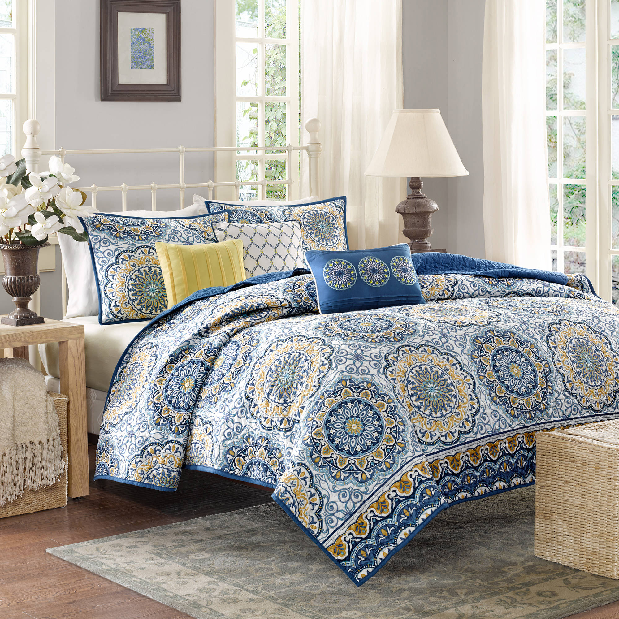 Home Essence Menara 6 Piece Reversible Printed Coverlet Bedding Set