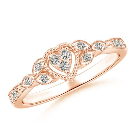 April Birthstone Ring - Milgrain Petal Diamond Composite Heart Promise Ring in 14K Rose Gold (1.5mm Diamond) - SR1578D-RG-KI3-1.5-4