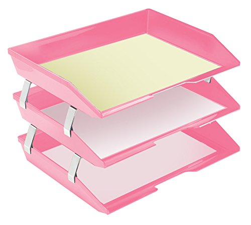 Acrimet Facility Triple Letter Tray (Solid Pink Color) by Acrimet