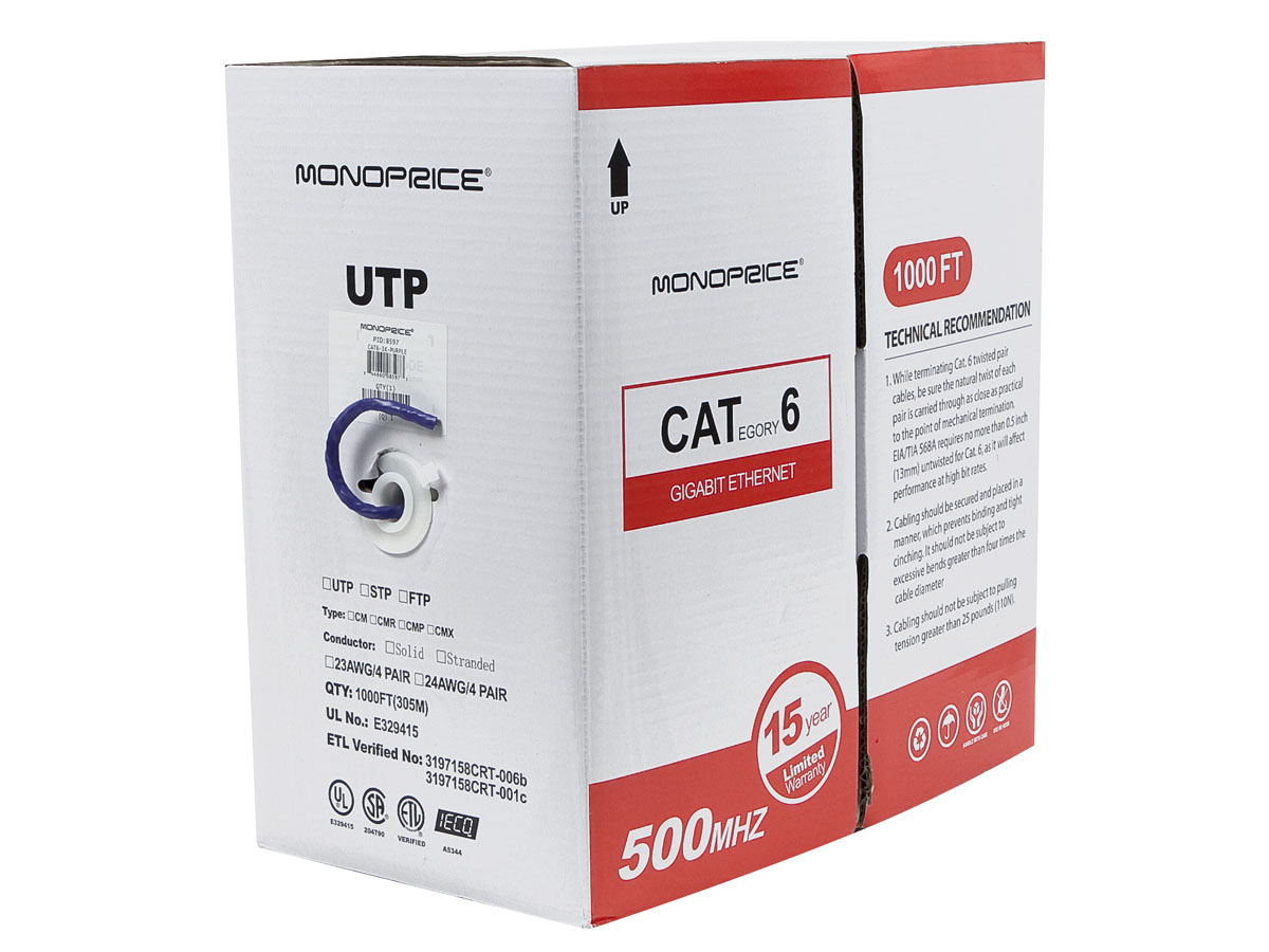 Monoprice Cat6 Ethernet Bulk Cable - Network Internet Cord - Solid ...