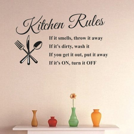 """Wall Sticker Removable Kitchen Rules Words Wall Stickers Decal Home Decor Modern 23.62""""x12.99"""" - Walmart.com"""