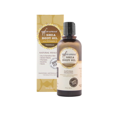 Vanilla Bath Oil - Out Of Africa Shea Butter Body Oil with Vitamin E, Vanilla, 9 fl Oz