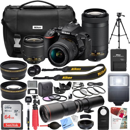 Nikon D5600 24.2 MP DSLR Camera with AF-P DX 18-55mm f/3.5-5.6G VR and 70-300mm f/4.5-6.3G ED Dual Zoom Lens Kit + 500mm Preset f/8 Telephoto Lens + 0.43x Wide Angle, -