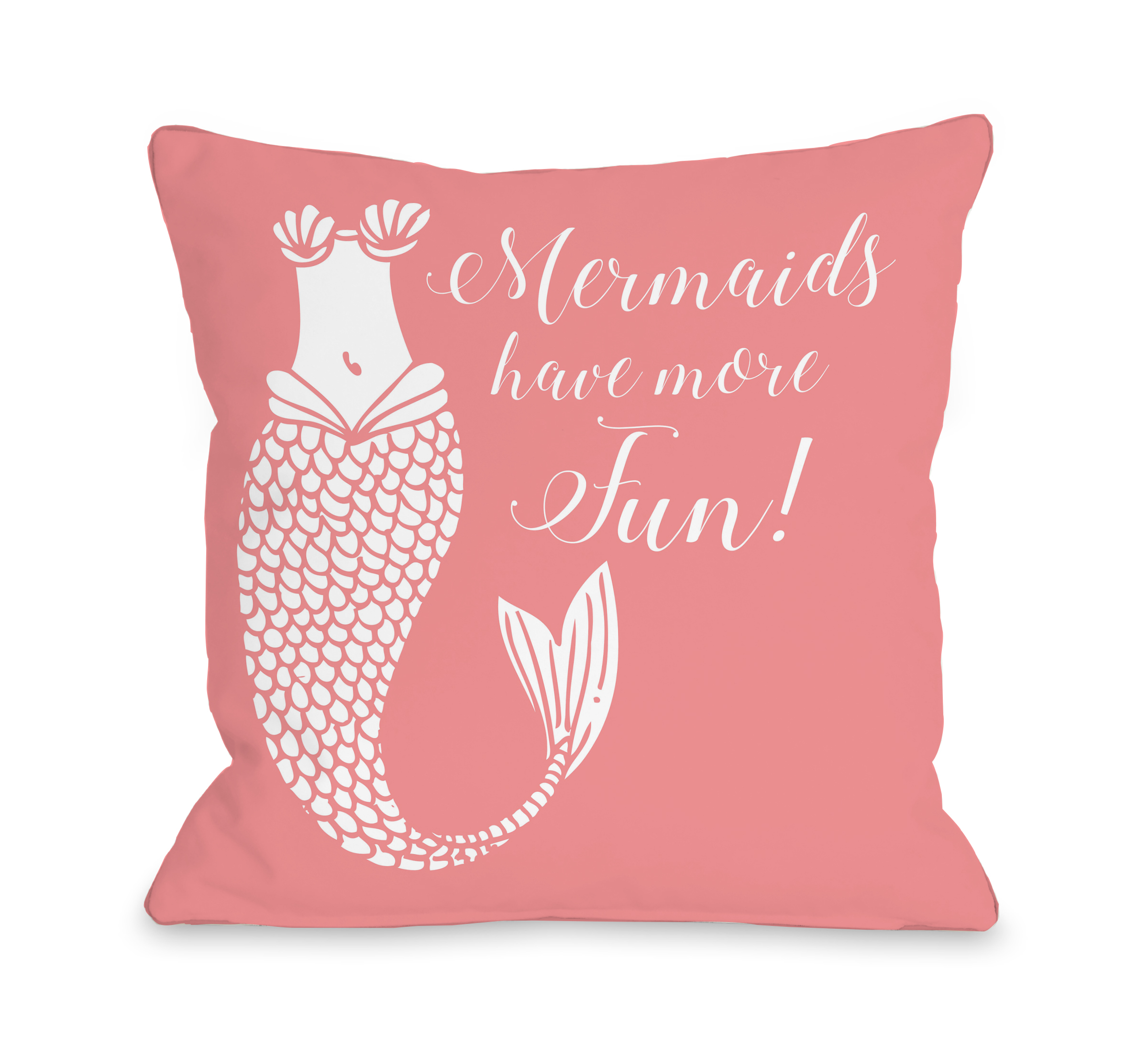 Mermaids Have More Fun Salmon - Salmon 18x18 Pillow by OBC