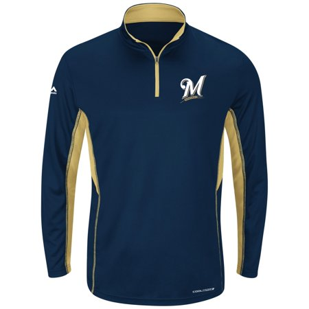 "Milwaukee Brewers Majestic MLB ""Check Swing"" Cool Base 1 4 Zip Performance Shirt by"