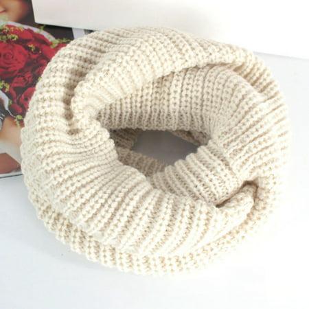 Ladies Women Winter Knitted Crochet Long Snood Tube Scarf Shawl Neck Warmer Beige