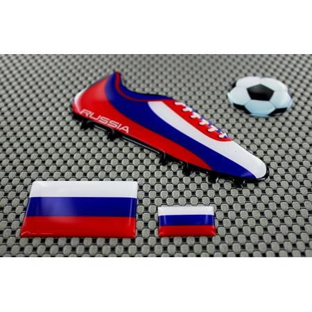 Russia Football Soccer Shoe 3D Decal Sticker Flag Set World