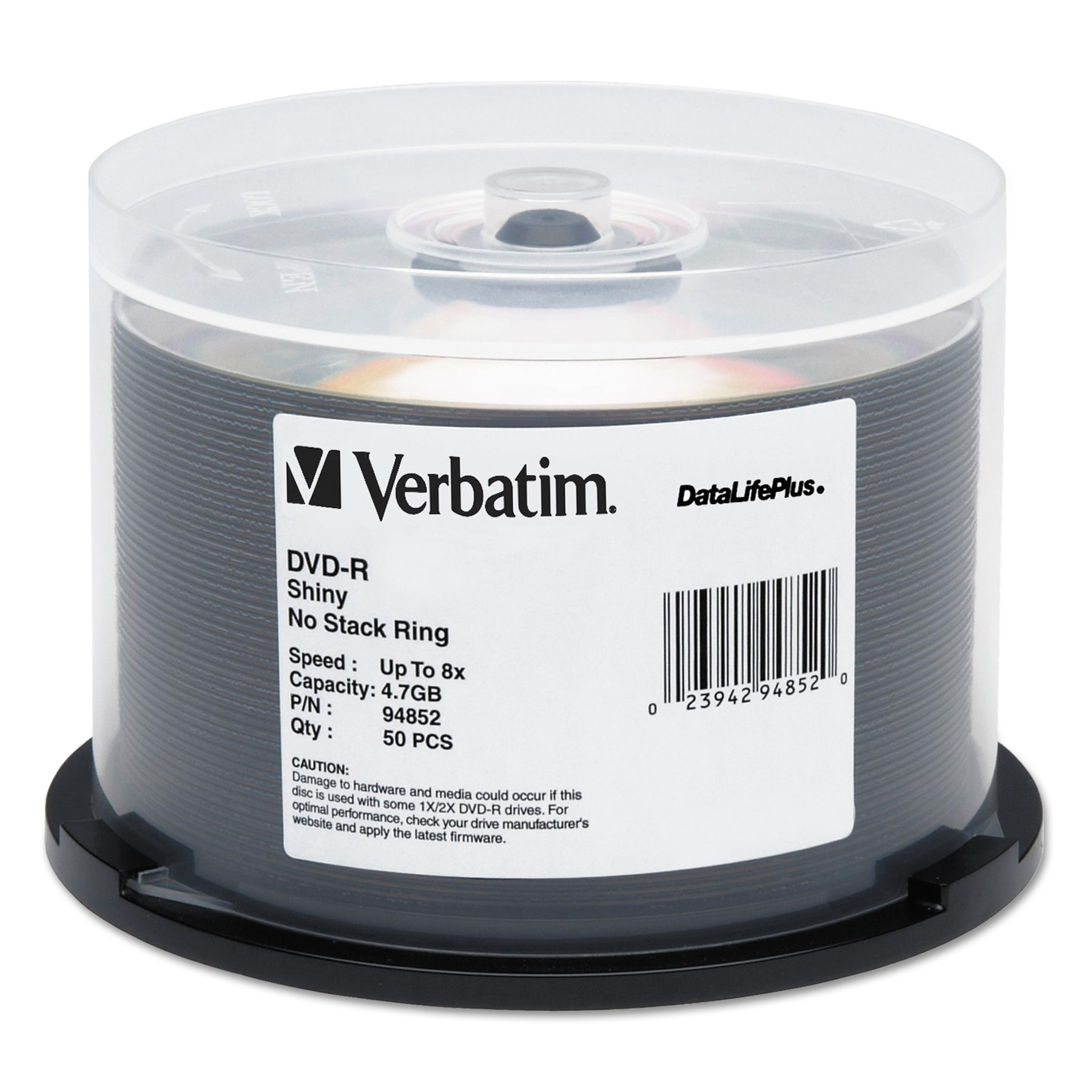 Verbatim DataLifePlus DVD-R, 4.7GB, 8X, Shiny Silver Silk Screen Printable, 50/PK Spindle -VER94852