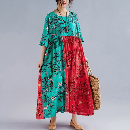 Women Dress Colorful Floral Birds Print Splicing High Waist Pleated Half Sleeve Swing Vacation Wear Multicolor - image 3 of 7