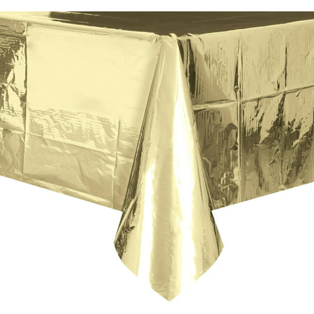 (4 pack) Foil Plastic Tablecloth, 108 x 54 in, Gold