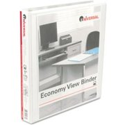 "Universal Office Products Round Ring Economy Vinyl View Binder, 1"" Capacity, White, 12/Carton 20962CT"