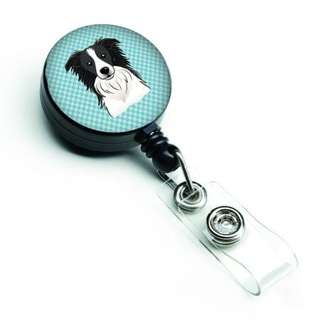 Checkerboard Blue Border Collie Retractable Badge Reel -