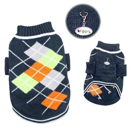 Klippo Pet KSW102MZ Argyle Pattern Turtleneck Sweater, Navy Charcoal - Medium (Argyle Pattern Sweater)