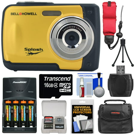 Bell & Howell Splash WP10 Shock & Waterproof Digital Camera (Yellow) with 16GB Card + Batteries & Charger + Case + Mini Tripod + Floating Strap + Reader + Kit