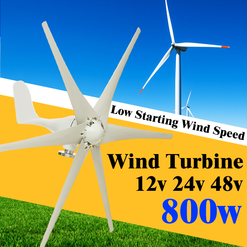 Max 800W Wind Turbine Generator 12V/24V/48V 6 Blades Windmill Power Generator Green Energy (Excluding Controller)